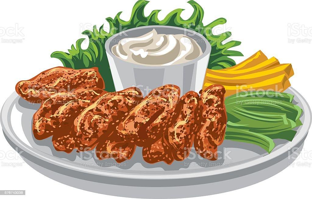 roasted chicken wings vector art illustration