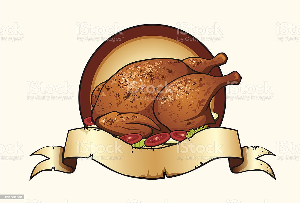 roasted chicken with banner royalty-free roasted chicken with banner stock vector art & more images of chicken meat