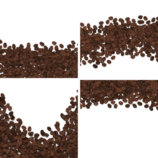 roasted coffee beans isolated on white background vector set - ziarno kawy palonej stock illustrations