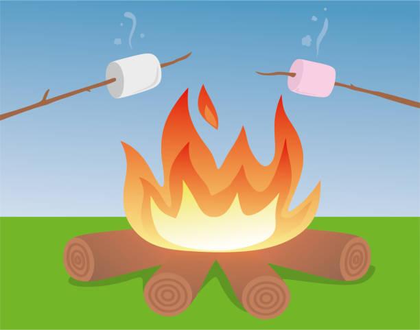roasted marshmallow - lepki stock illustrations