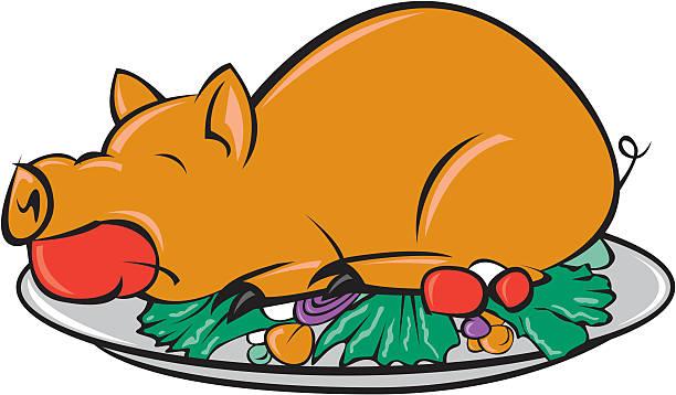 gebratene schwein - schweinebraten stock-grafiken, -clipart, -cartoons und -symbole