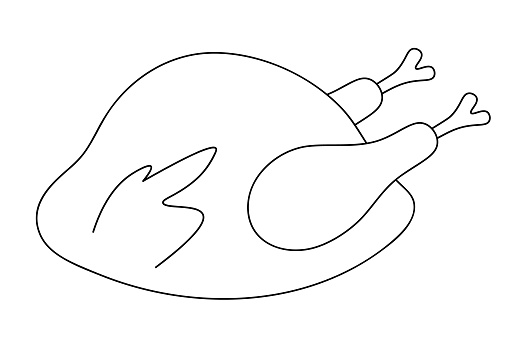 Roasted turkey. Juicy meat. Vector illustration. Outline on an isolated white background. Doodle style. Coloring book for children. Sketch. Thanksgiving day symbol. Appetizing chicken.