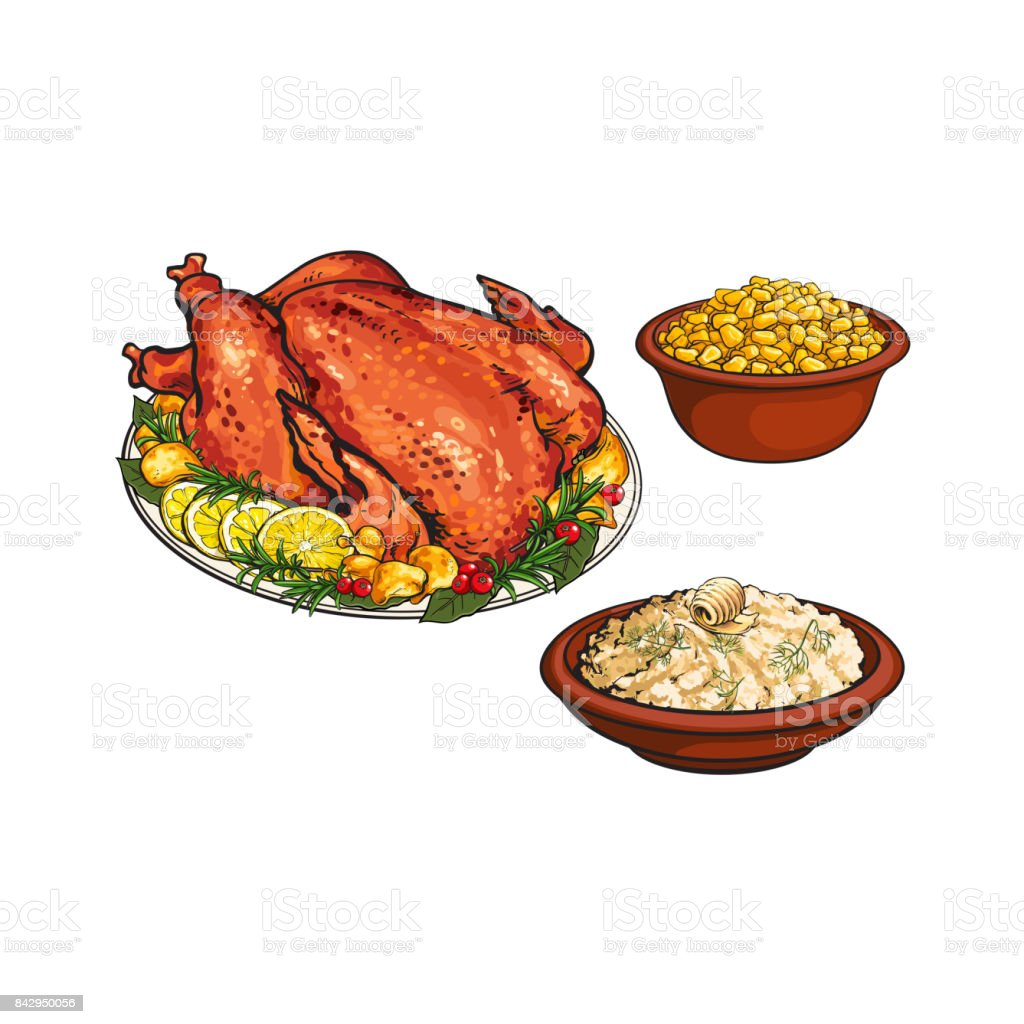 Roasted turkey, mashed potato and bowl of corn vector art illustration
