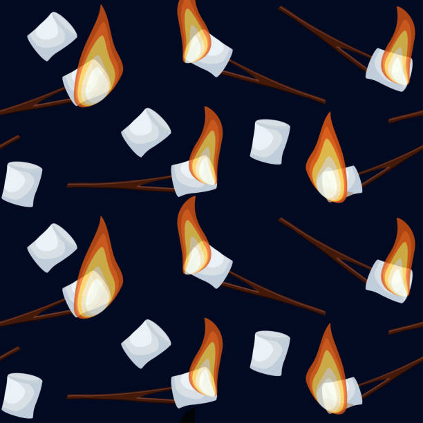 bildbanksillustrationer, clip art samt tecknat material och ikoner med rostning marshmallows sömlösa mönster isolerad på mörk blå natt himmel bakgrund. - summer sweden