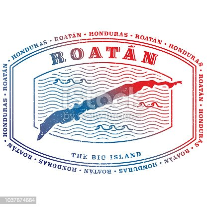 Stylized Roatan Island Stamp in Honduras