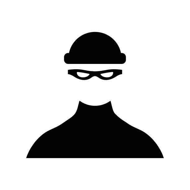 Robber icon on white background Robber icon on white background bandit stock illustrations