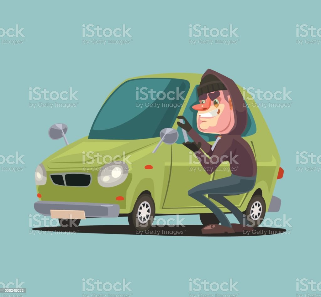 Robber man character steals and breaking car door vector art illustration