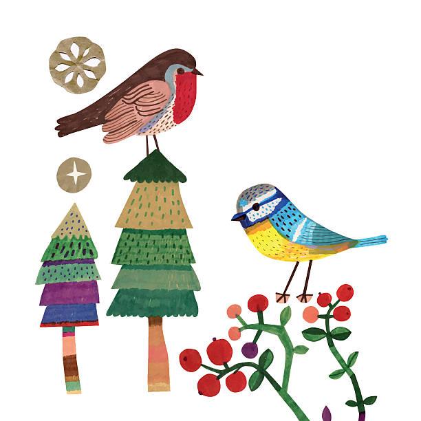 ヒタキとアオガラクリスマスツリー、クランベリーの植物 - 鳥点のイラスト素材/クリップアート素材/マンガ素材/アイコン素材