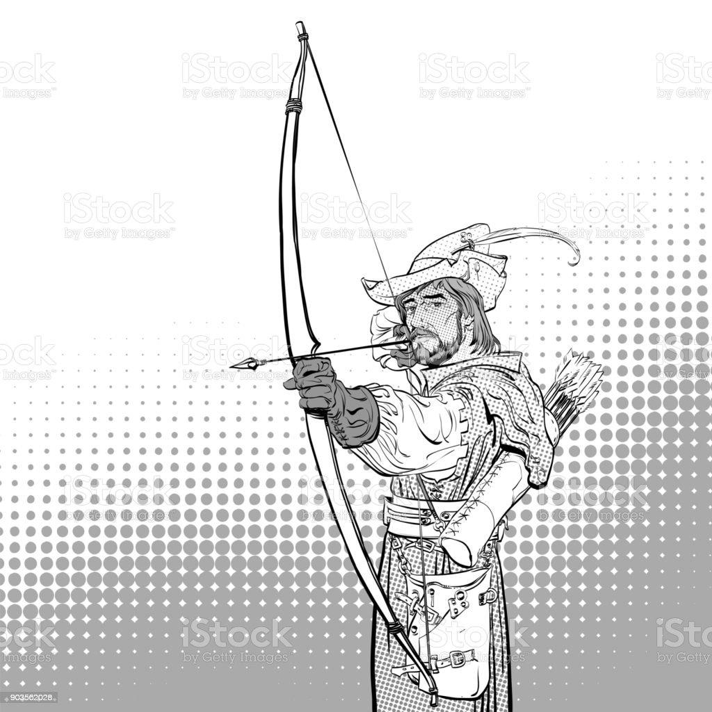 Robin Hood Mit Dem Ziel Am Ziel Robin Hood Stehend Mit Pfeil