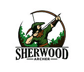 Vector emblem of medieval archer Robin Hood in green clothes and hat with bow and arrow