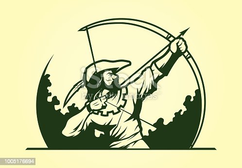 Medieval archer Robin Hood with bow and arrow vector silhouette