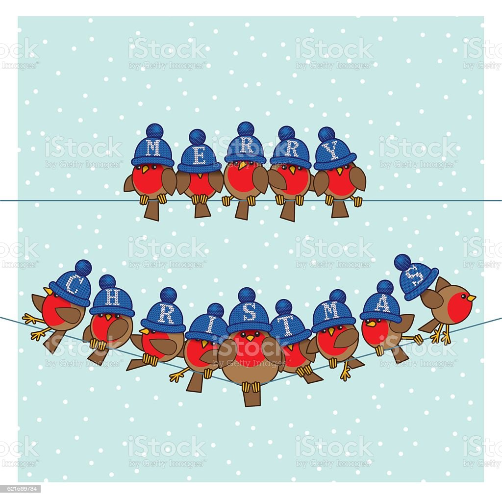 Robins wearing Blue Woolly Bobble Hats on two Telephone Wires robins wearing blue woolly bobble hats on two telephone wires – cliparts vectoriels et plus d'images de agripper libre de droits