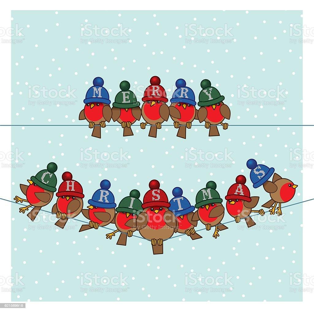 Robins wearing Colourful Woolly Bobble Hats on Telephone Wires robins wearing colourful woolly bobble hats on telephone wires - immagini vettoriali stock e altre immagini di ala di animale royalty-free