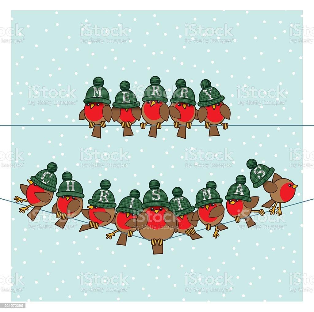 Robins wearing Green Woolly Bobble Hats on two Telephone Wires robins wearing green woolly bobble hats on two telephone wires – cliparts vectoriels et plus d'images de agripper libre de droits