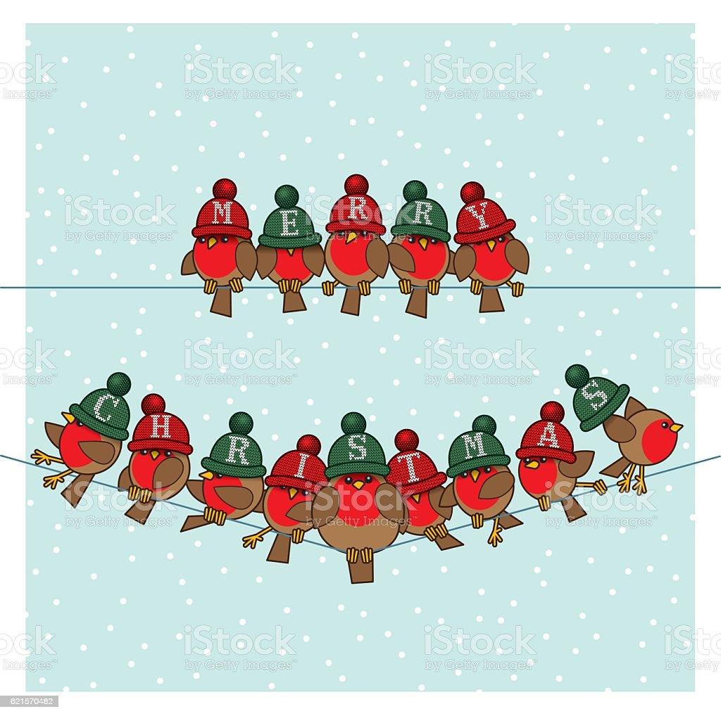 Robins wearing Red Green Woolly Bobble Hats on Telephone Wires robins wearing red green woolly bobble hats on telephone wires – cliparts vectoriels et plus d'images de agripper libre de droits