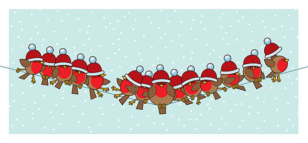 robins wearing red santa woolly bobble hats on telephone wire - rotkehlchen stock-grafiken, -clipart, -cartoons und -symbole