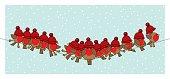Robins wearing Red Woolly Bobble Hats on Telephone Wire
