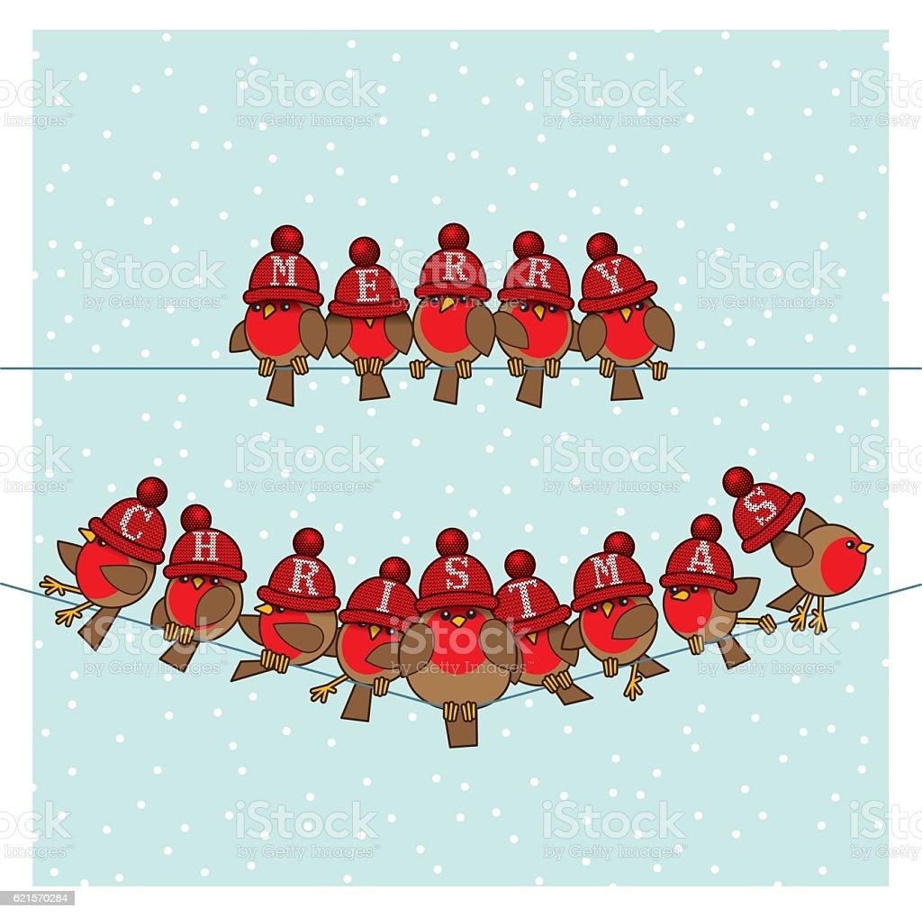 Robins wearing Red Woolly Bobble Hats on two Telephone Wires robins wearing red woolly bobble hats on two telephone wires – cliparts vectoriels et plus d'images de agripper libre de droits