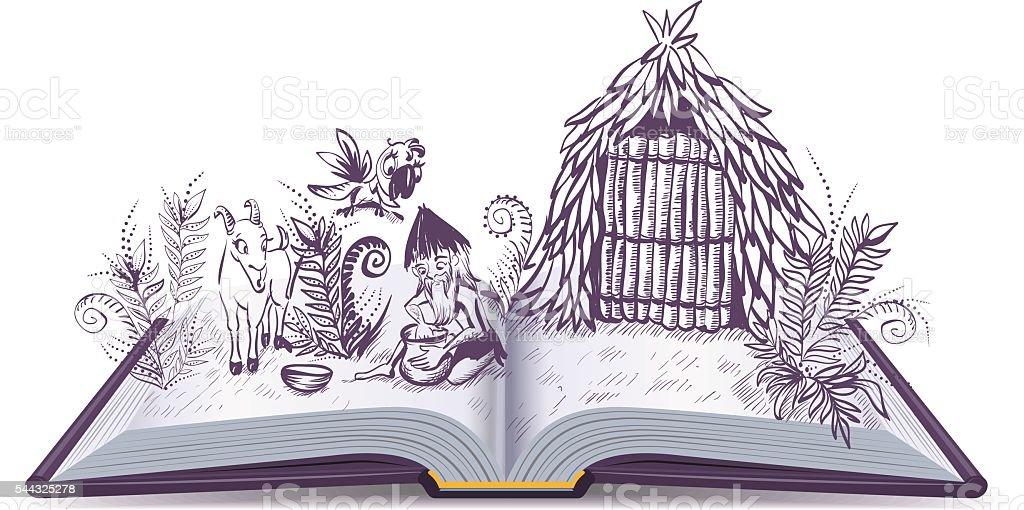 Robinson Crusoe on desert island. Open book adventure - ilustración de arte vectorial