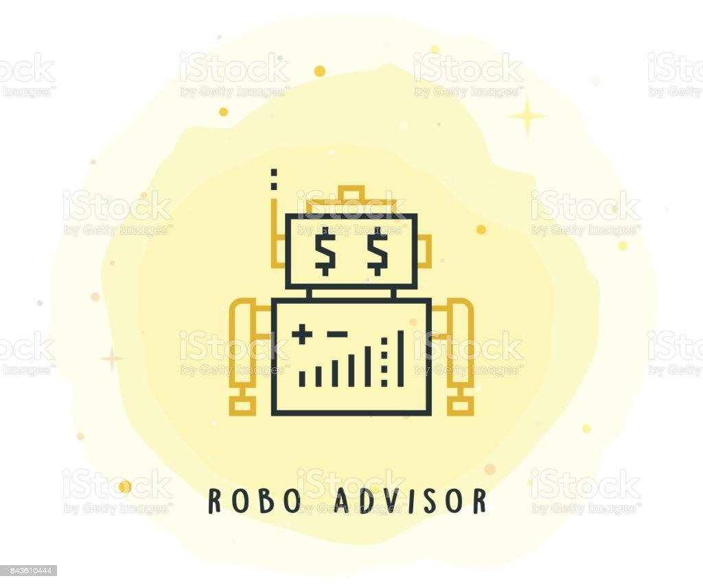 Robo Advisor Icon with Watercolor Patch vector art illustration