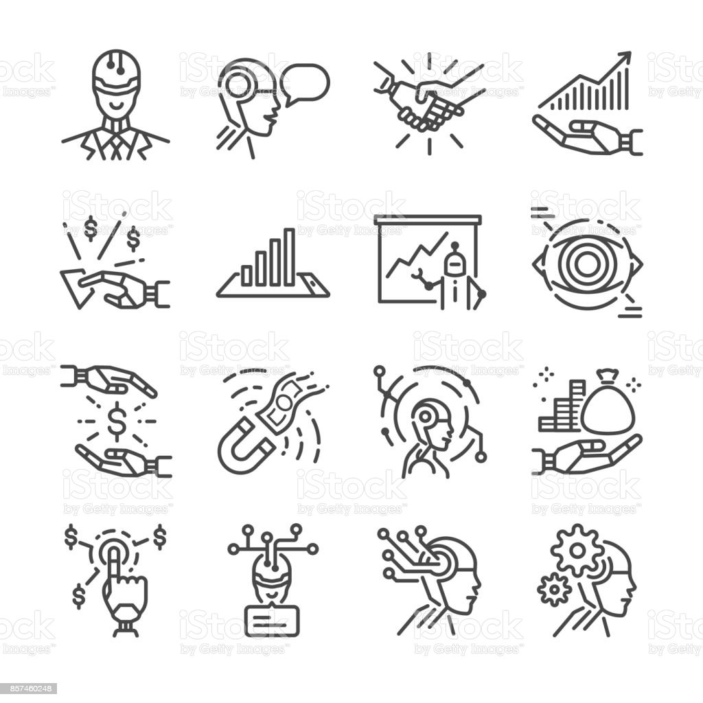 Robo advisor line icon set. Included the icons as robot, ai, cyborg, fintech, analyze, financial and more. vector art illustration