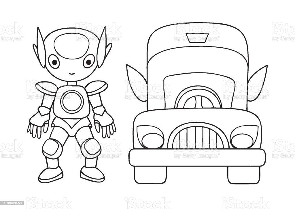 Robot 2 Stok Vektor Sanati Araba Motorlu Tasit Nin Daha Fazla