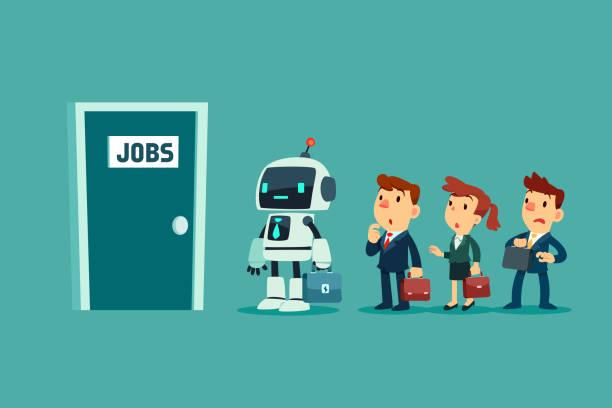 Roboter und eine Gruppe von Geschäftsleuten in der Schlange warten auf Vorstellungsgespräch – Vektorgrafik