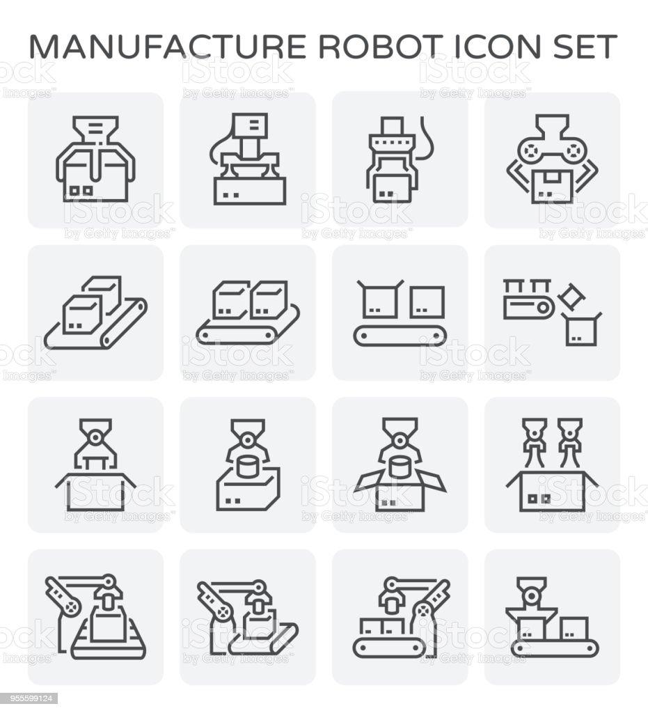 robot and box icon vector art illustration