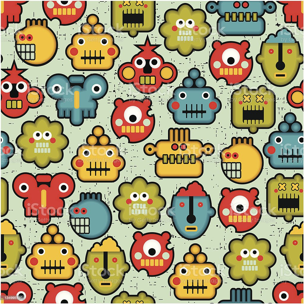 Robot and monsters cute faces seamless pattern. vector art illustration