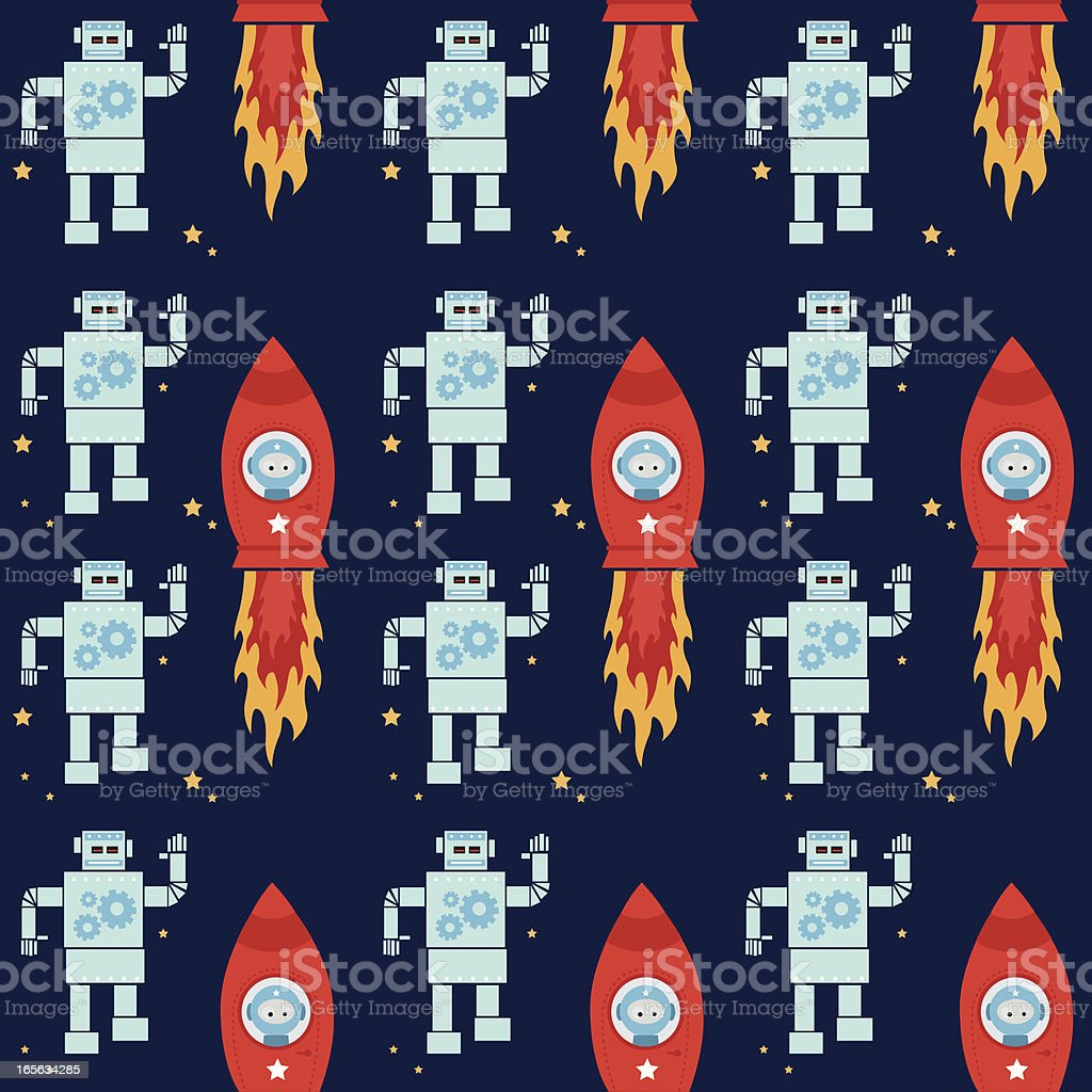 Robot and spaceship pattern. royalty-free robot and spaceship pattern stock vector art & more images of backgrounds
