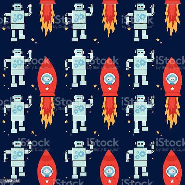 Robot And Spaceship Pattern Stock Illustration - Download Image Now