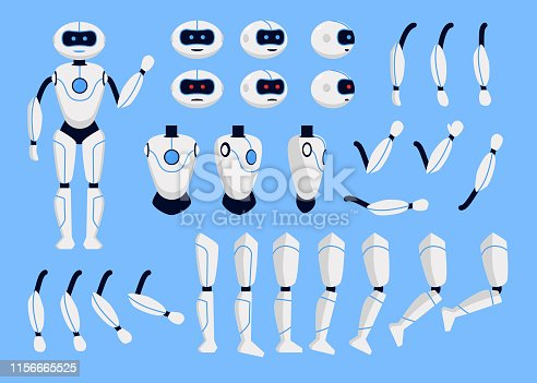 istock Robot Animation Set on a Blue. Vector 1156665525