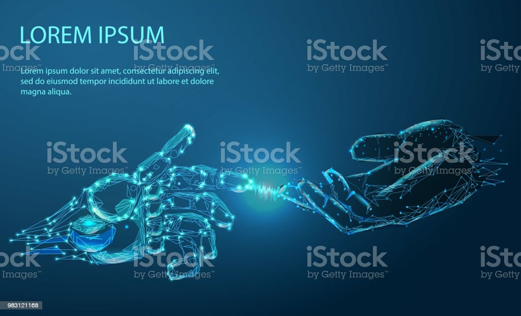 Robot arm and hand human, touch vector art illustration