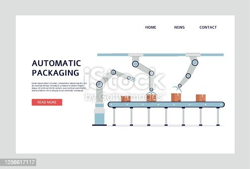 Robot arm conveyor belt - automatic cardboard box packaging system. Industrial robotic machine for package processing isolated on white background. Vector illustration