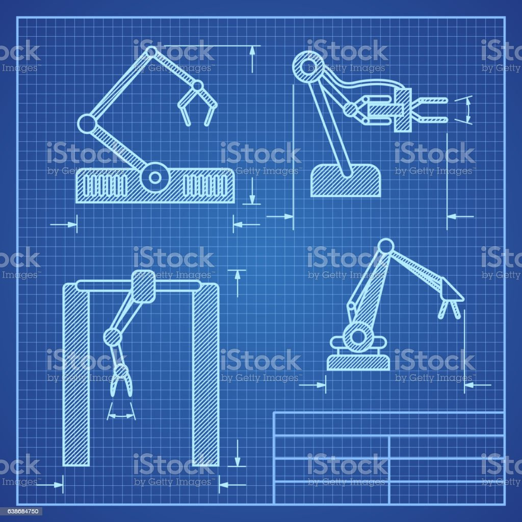 Robot arms blueprint machine industrial robotic vector stock vector robot arms blueprint machine industrial robotic vector royalty free robot arms blueprint machine industrial robotic malvernweather Image collections