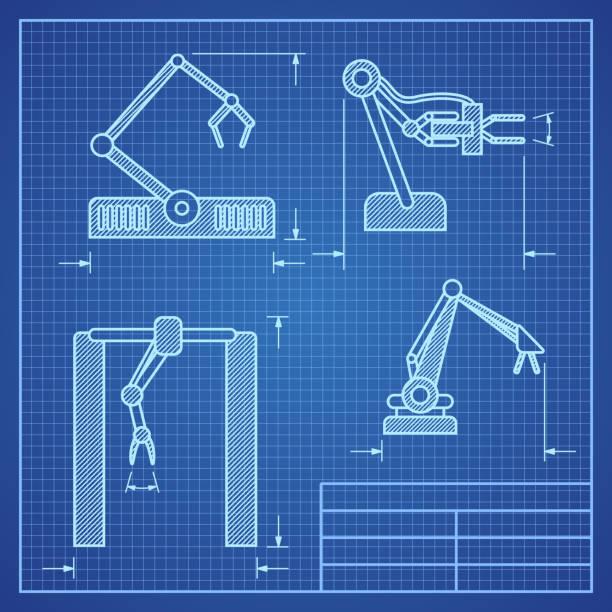 Royalty free robot blueprint clip art vector images robot arms blueprint machine industrial robotic vector vector art illustration malvernweather Choice Image