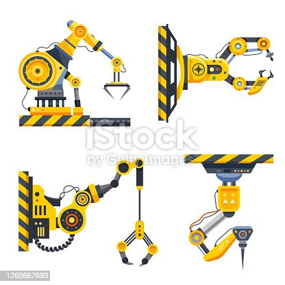 istock Robot arms set or factory machine hands 1265667693