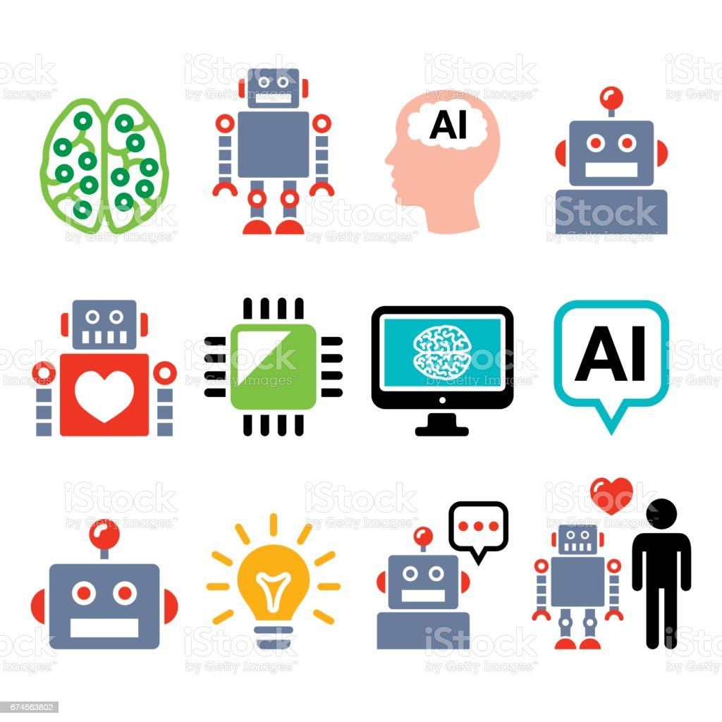 Robot, Artificial Intelligence (AI), cyborg icons set vector art illustration