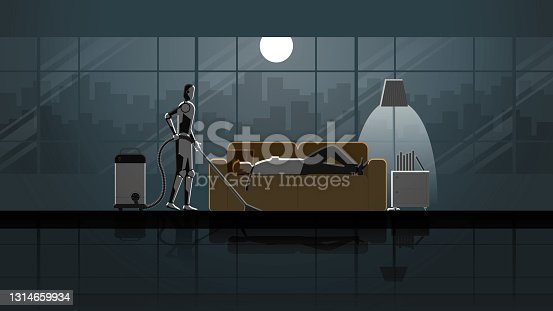 istock Robot Artificial intelligence mechanism clean and work as maid in the house for 24 hours in the dark and full moonlight with people. Man lay down and sleep on sofa in living room after work. 1314659934