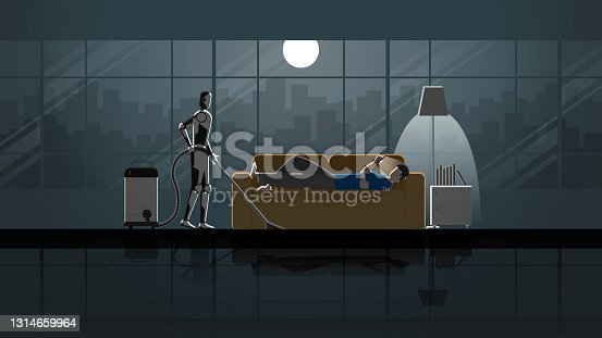 istock Robot Artificial intelligence mechanism clean and work as maid in the house for 24 hours in the dark and full moonlight with people. Man lay down on sofa and use smartphone in living room with relax. 1314659964