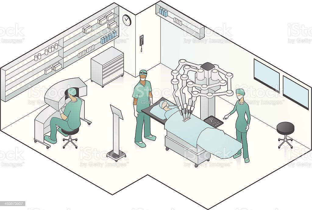 Robot Assisted Surgery vector art illustration
