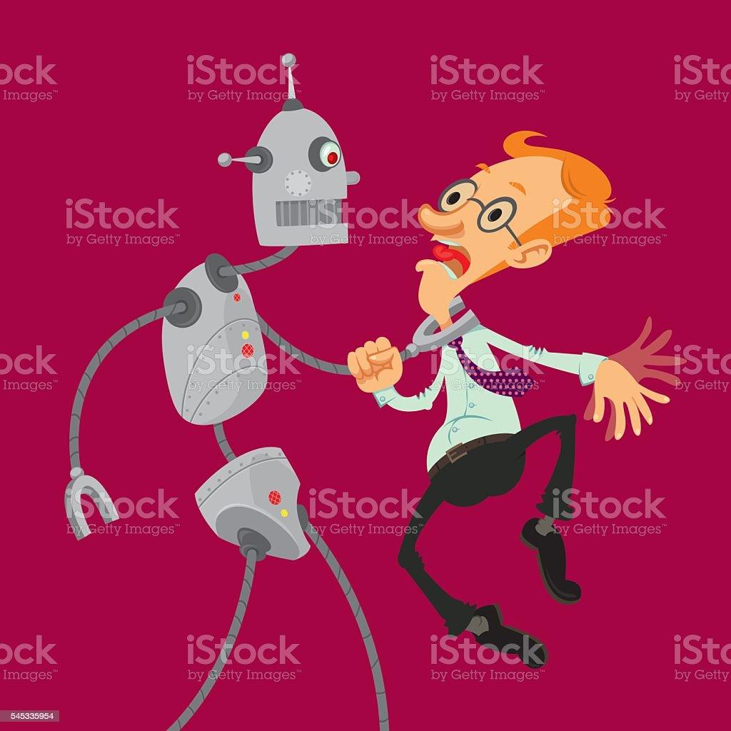 robot attacked man