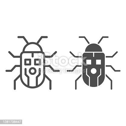 Robot beetle line and solid icon, Robotization concept, robot bug sign on white background, Robotic beetle icon in outline style for mobile concept and web design. Vector graphics