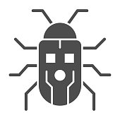 Robot beetle solid icon, Robotization concept, robot bug sign on white background, Robotic beetle icon in glyph style for mobile concept and web design. Vector graphics