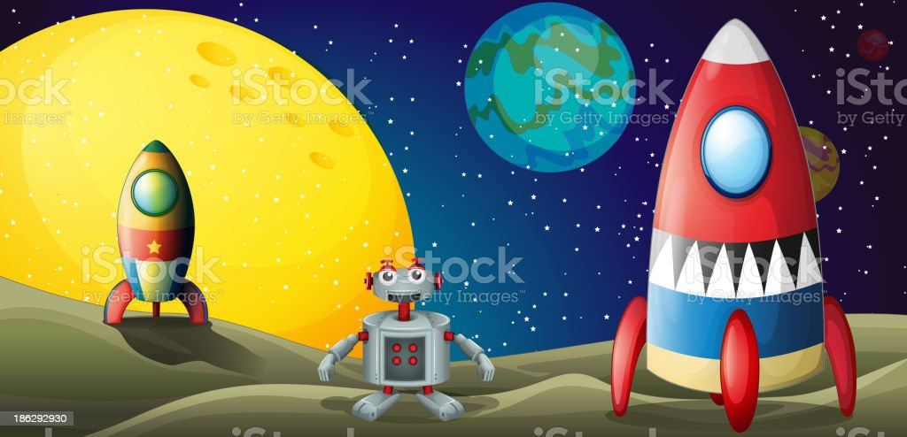 robot between two spaceships at the outerspace royalty-free robot between two spaceships at the outerspace stock vector art & more images of air vehicle