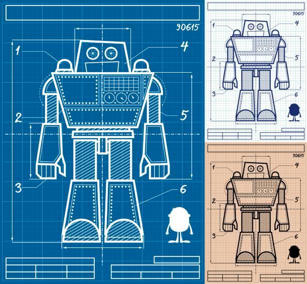 Robot Blueprint Cartoon Cartoon blueprint of giant robot in 3 versions. transformer stock illustrations