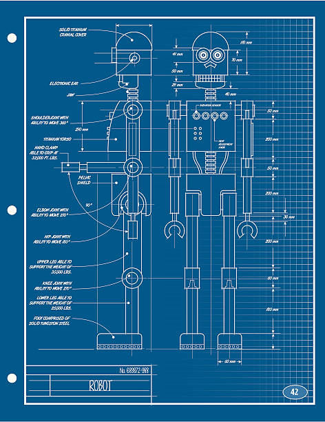 Royalty free robot blueprint clip art vector images illustrations robot blueprint vector art illustration malvernweather Gallery
