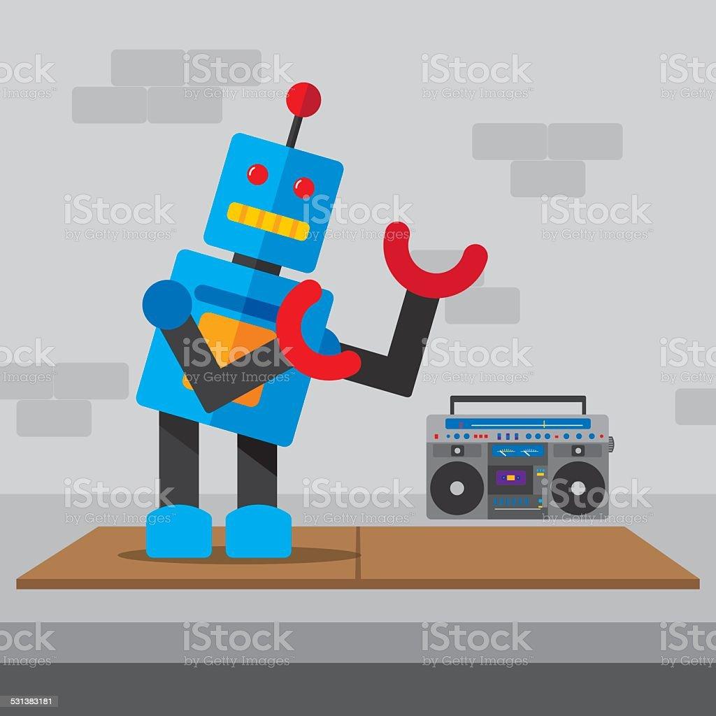 Robot Breakdance vector art illustration
