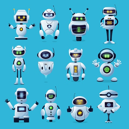 Robot cartoon characters with ai robotic machines