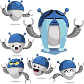 Cartoon robot set including: